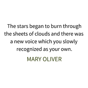 The stars began to burn throughthe sheets of clouds and there was a new voice which you slowly recognized as your own.{Mary Olive